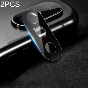 2 PCS 10D Full Coverage Mobile Phone Metal Rear Camera Lens Protection Cover for iPhone XS Max / XS / X (Black)