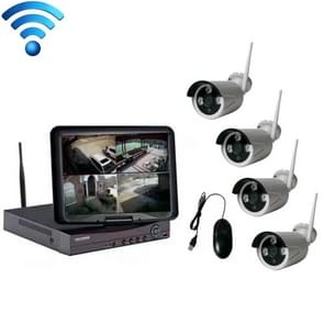 K9104E-PE2013C 4CH HD 960P 1 3 mega pixel 2.4 GHz WiFi IP Bullet camera 10 1 inch LCD-scherm NVR Kit
