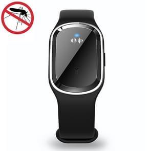Smart Ultrasonic Mosquito Repellent Armband met elektronische klok (Zwart)
