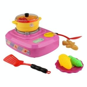 MoFun QC2B Electric Simulation Gas Stove Kids Toys Set with Colorful Lights & Ringtone & Fogging Function(Pink)