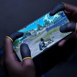2 PCS Carbon Fiber ademende mobiele telefoon game touch screen vinger cover voor duim / wijsvinger (Zwart Geel)