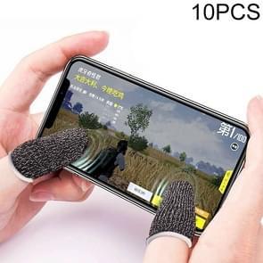 10 PCS Nylon + Geleidende vezel non-slip zweet-proof mobiele telefoon game touch screen vinger cover voor duim / wijsvinger (Zwart wit)