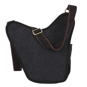 KAUKKO FH03 Retro stijl mannen Canvas Crossbody tas Messenger Bag Outdoors Hiking Camping tas  grootte: 26 x 21 x 9 cm(Black)
