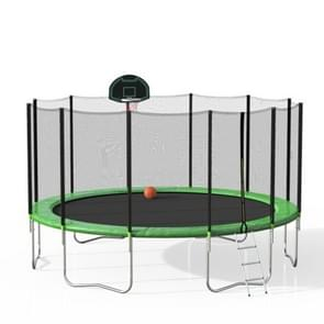 [US Warehouse] 16FT Outdoor Activity Round Trampoline Bouncing Bed met Safety Fence / Ladder / Spring Cover Padding / Basketball Hoop