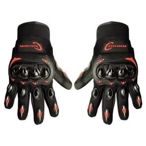 One Pair Cyclegear CG666 One-touch Breathable Wearable Full Finger Protective Outdoor Motorcycle Gloves, Size: L(Black+Red)