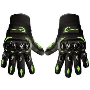 One Pair Cyclegear CG666 One-touch Breathable Wearable Full Finger Protective Outdoor Motorcycle Gloves, Size: XL(Black+Green)