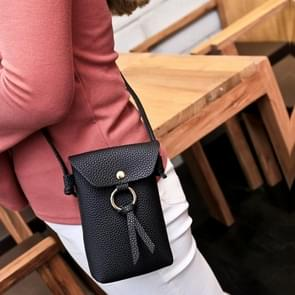 Ladies Casual Leisure Ring Tassel Shoulder Messenger Cellphone Change Crossbody Bucket Bag