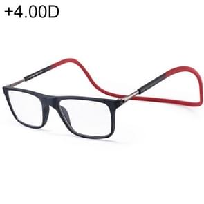 Anti Blue-ray Adjustable Neckband Magnetic Connecting Presbyopic Glasses, +4.00D(Red)