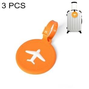 3 PCS Round PVC Luggage Tag Travel Bag Identification Tag (Orange)