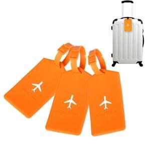 3 PCS Square PVC Luggage Tag Travel Bag Identification Tag (Orange)