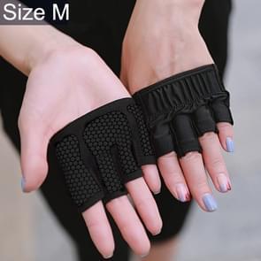 Half Finger Yoga Gloves Anti-skid Sports Gym Palm Protector, Size: M, Palm Circumference: 18cm(Black)