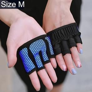 Half Finger Yoga Gloves Anti-skid Sports Gym Palm Protector, Size: M, Palm Circumference: 18cm(Blue)