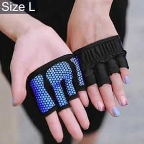 Half Finger Yoga Gloves Anti-skid Sports Gym Palm Protector, Size: L, Palm Circumference: 19cm(Blue)