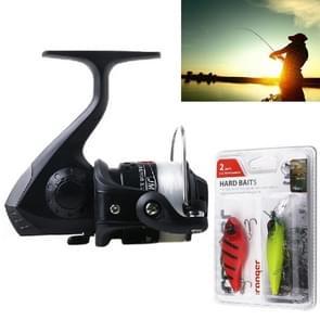 HENGJIA A1 3BB Ball Bearings Rocker Handle Wheel Seat Fishing Spinning Reel with 40m Fishing Lines & Boxed Baits(Black)