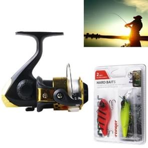 HENGJIA A1 3BB Ball Bearings Rocker Handle Wheel Seat Fishing Spinning Reel with 40m Fishing Lines & Boxed Baits(Gold)