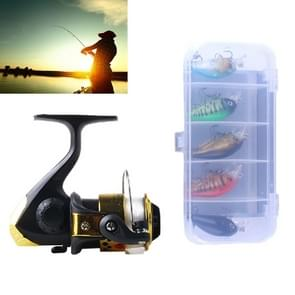 HENGJIA SetJL200 Box014 Fishing Spinning Wheel Set with Rocker Arm 3BB Ball Bearings Wheel Seat Fishing Reel with 40m Fishing Lines & 5 PCS Rock Baits (Gold)