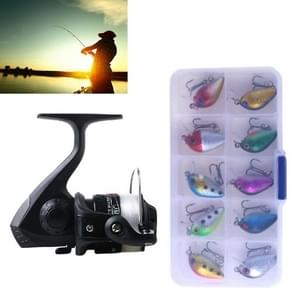 HENGJIA SetJL200 Box0149 Fishing Spinning Wheel Set Wheel 3BB Ball Bearings Wheel Seat Fishing Reel with 40m Fishing Lines & 10 PCS fishing Baits(Black)