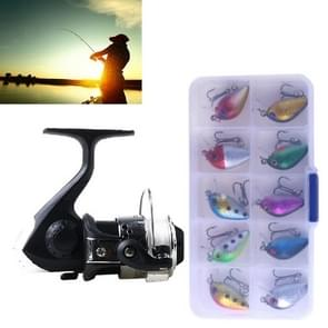 HENGJIA SetJL200 Box0149 Fishing Spinning Wheel Set Wheel 3BB Ball Bearings Wheel Seat Fishing Reel with 40m Fishing Lines & 10 PCS fishing Baits(Silver)
