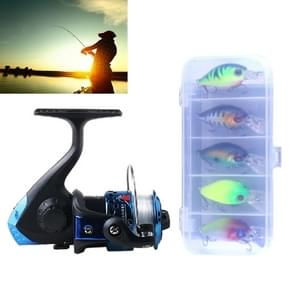 HENGJIA SetJL200 box007 Fishing Spinning Wheel Set with Rocker Arm 3BB Ball Bearings Wheel Seat Fishing Reel with 40m Fishing Lines & 5 PCS Rock Baits (Blue)