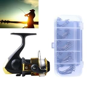 HENGJIA JL200FH0131 Freshwater Fishing Wheel Set 3BB Ball Bearings Rocker Handle Wheel Seat Fishing Spinning Reel with 40m Fishing Lines & 50 PCS Hooks (Gold)