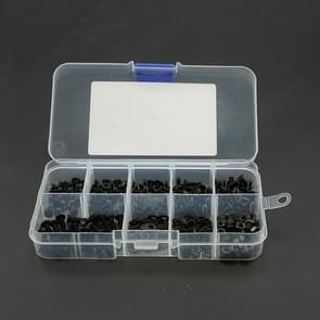 300 PCS M3/M4/M5/M6/M8/M10/M12 Countersunk Head Hexagonal Screw Nut Flat Mat Spring Lock Washers Combination Set (Black)