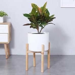 Flower Pot Set Solid Wood Flower Frame + PP Flower Pot(White)
