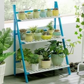 Bamboo 3-Tier Hanging Plant Stand Planter Shelves Flower Pot Storage Rack Folding Display Shelving Plants Shelf, Width: 70cm(Blue)