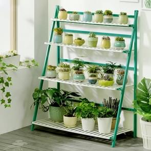 Bamboo 4-Tier Hanging Plant Stand Planter Shelves Flower Pot Storage Rack Folding Display Shelving Plants Shelf, Width: 100cm(Green)