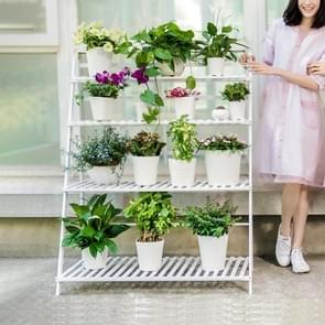 Bamboo 4-Tier Hanging Plant Stand Planter Shelves Flower Pot Storage Rack Folding Display Shelving Plants Shelf, Width: 100cm(White)