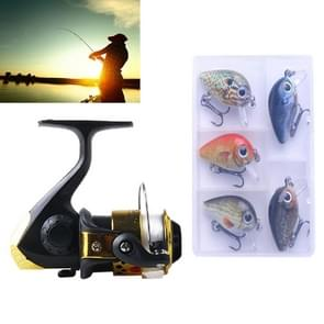 HENGJIA SetJL200 Fishing Spinning Wheel Set with Rocker Arm 3BB Ball Bearings Wheel Seat Fishing Reel with 40m Fishing Lines & 5 PCS Rock Baits (Gold)