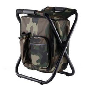 Outdoor Portable Folding Camping Chair Light Fishing Beach Chair Stainless Steel Pipe Folding Chair with Ice Bag(Camouflage)