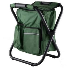 Outdoor Portable Folding Camping Chair Light Fishing Beach Chair Stainless Steel Pipe Folding Chair with Ice Bag(Green)