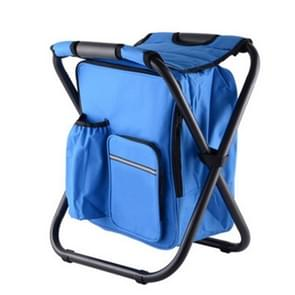 Outdoor Portable Folding Camping Chair Light Fishing Beach Chair Stainless Steel Pipe Folding Chair with Ice Bag(Blue)