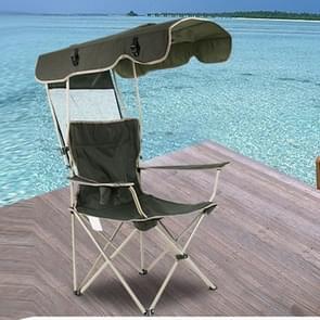 Buiten zonwering klapstoel stoel multifunctionele Portable visserij Beach Lounge met zonnescherm aluminium klapstoel (donkergroen)