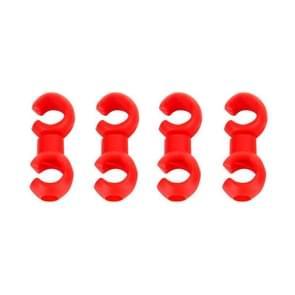 4 PC's S-vormige fiets kabel organiseren gespen (rood)