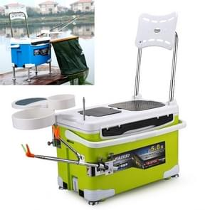 Multifunction Fishing Box Chair with Bait Tray & Umbrella Stand & Fishing Rod Stand Fishing Kit (Green)