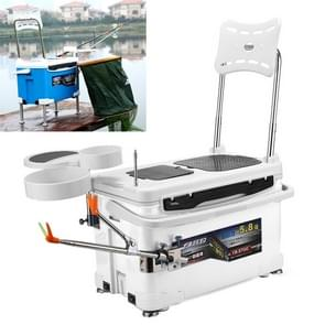 Multifunction Fishing Box Chair with Bait Tray & Umbrella Stand & Fishing Rod Stand Fishing Kit (White)