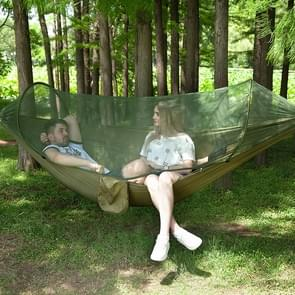 Portable Outdoor Camping Full-automatic Nylon Parachute Hammock with Mosquito Nets, Size : 290 x 140cm (Army Green)
