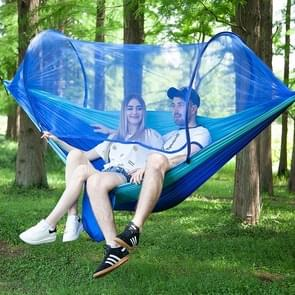 Portable Outdoor Camping Full-automatic Nylon Parachute Hammock with Mosquito Nets, Size : 290 x 140cm (Dark Blue + Baby Blue)