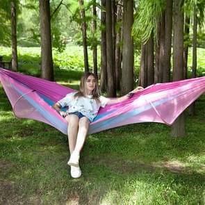 Portable Outdoor Camping Full-automatic Nylon Parachute Hammock with Mosquito Nets, Size : 290 x 140cm (Pink Blue)