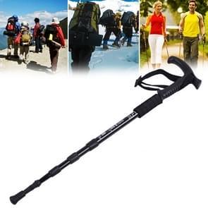 Aotu AT7555 108cm Outdoor Camping aluminium legering T handvat Lock 4 Alpenstock (zwart)