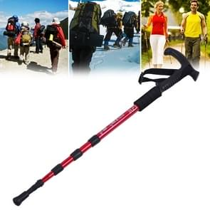 Aotu AT7555 108cm Outdoor Camping Aluminum Alloy T Handle Lock 4 Alpenstock(Red)