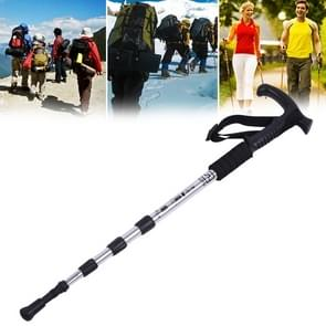 Aotu AT7555 108cm Outdoor Camping Aluminum Alloy T Handle Lock 4 Alpenstock(Silver)