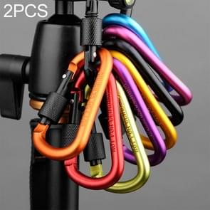 2 PCS D Shape Multi-function Outdoor Aluminium Alloy Mountaineering Buckle Lock, Random Color Delivery