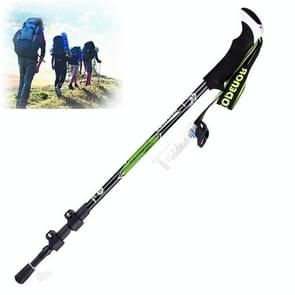 KODENOR Outdoor Mountaineering Portable Foldable Carbon Fibre Straight Handle Alpenstocks Trekking Poles, Length : 63-135CM (Black+green)