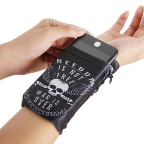 Multi-functional Universal Sports Arm Bag Phone Bag Wrist Pack  for 5.5 Inch or Below Smartphones,  Size : 16.5x10cm (White Skull)
