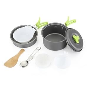 Aotu AT6385 Outdoor Camping Tableware Pots Cookwear Set for 1-2 Person (Green)