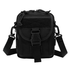 INDEPMAN DL-B020 Fashion leger stijl Oxford doek tactische pakket Crossbody tas Sling tas Hand tas Messenger Schoudertas  grootte: 17 x 15 x 8 cm(Black)