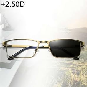 Dual-purpose Photochromic Presbyopic Glasses, +2.50D(Gold)