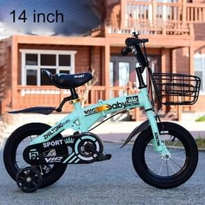ZHILTONG 5166 14 inch Foldable Portable Children Pedal Mountain Bike with Front Basket & Bell, Recommended Height: 100-115cm(Green)